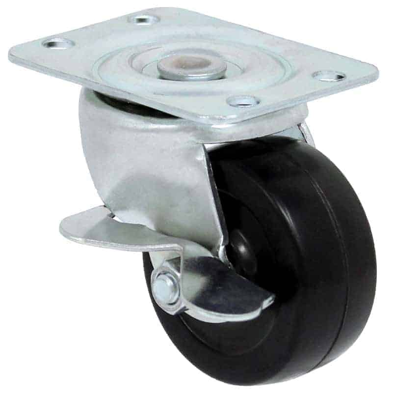 4″ Swivel Soft Rubber With Brake Top Plate 4″ x 5″
