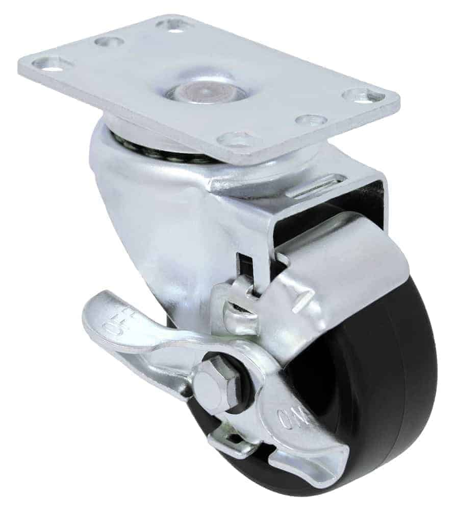 3″ Swivel Polyolefin With Brake Top Plate 2-3/8″ x 3-5/8″