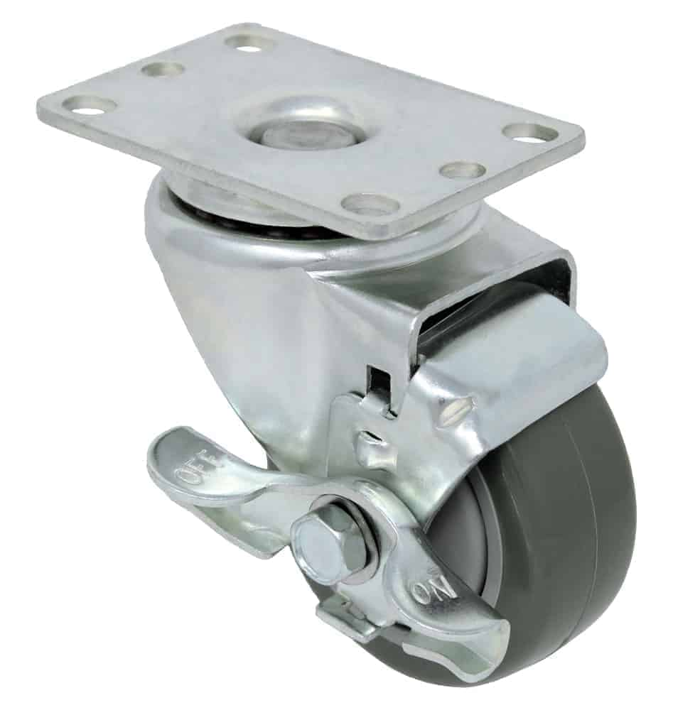 4″ Swivel Poly Poly With Brake Top Plate 2-3/8″ x 3-5/8″