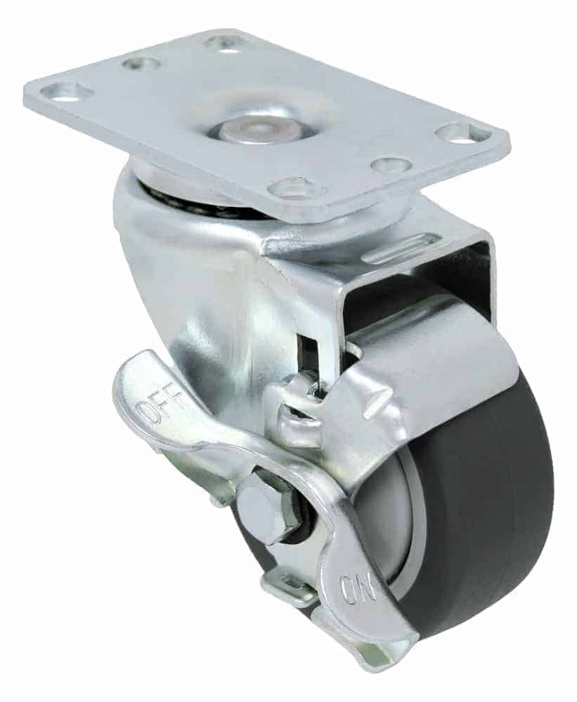 4″ Swivel Non Marking With Brake Top Plate 2-3/8″ x 3-5/8″