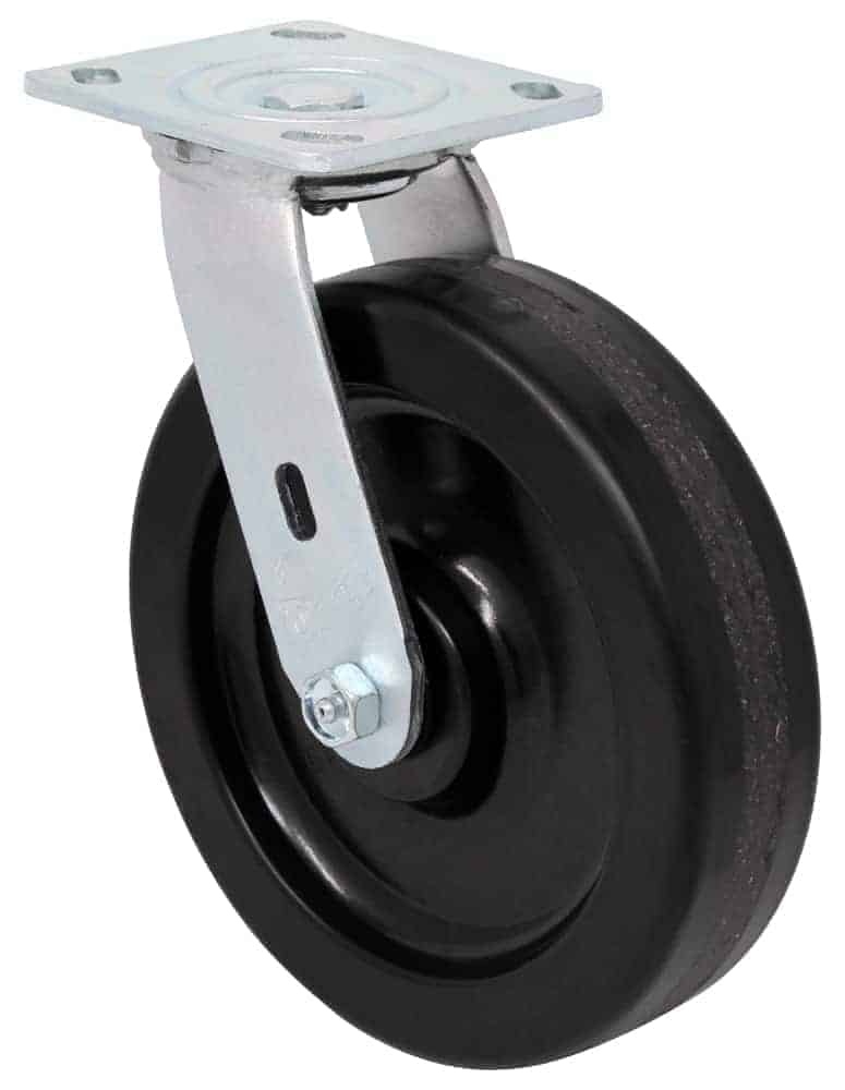 8″ Swivel Phenolic With Brake Top Plate 4 x 4-1/2