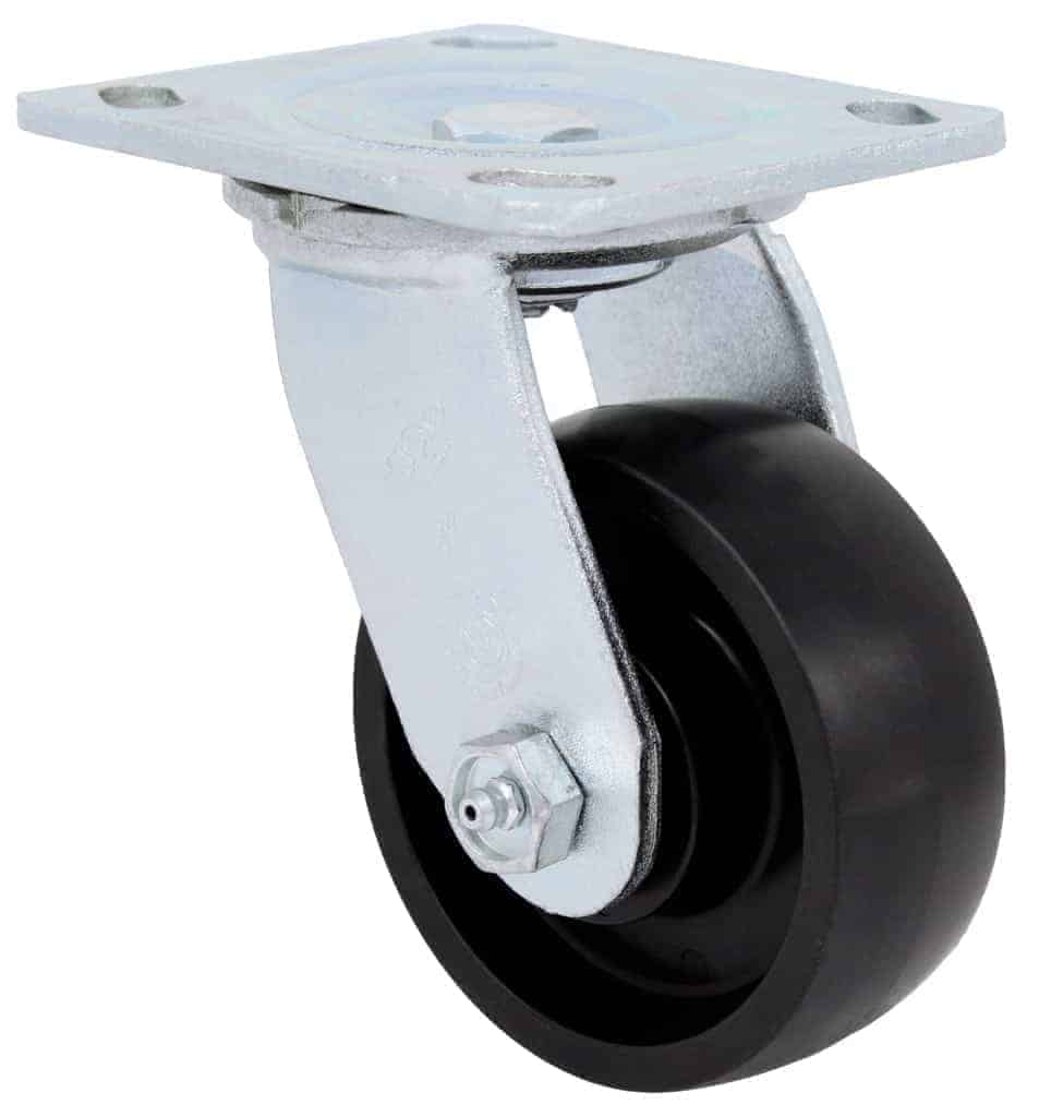 4″ Swivel Polyolefin With Brake Top Plate 4 x 4-1/2
