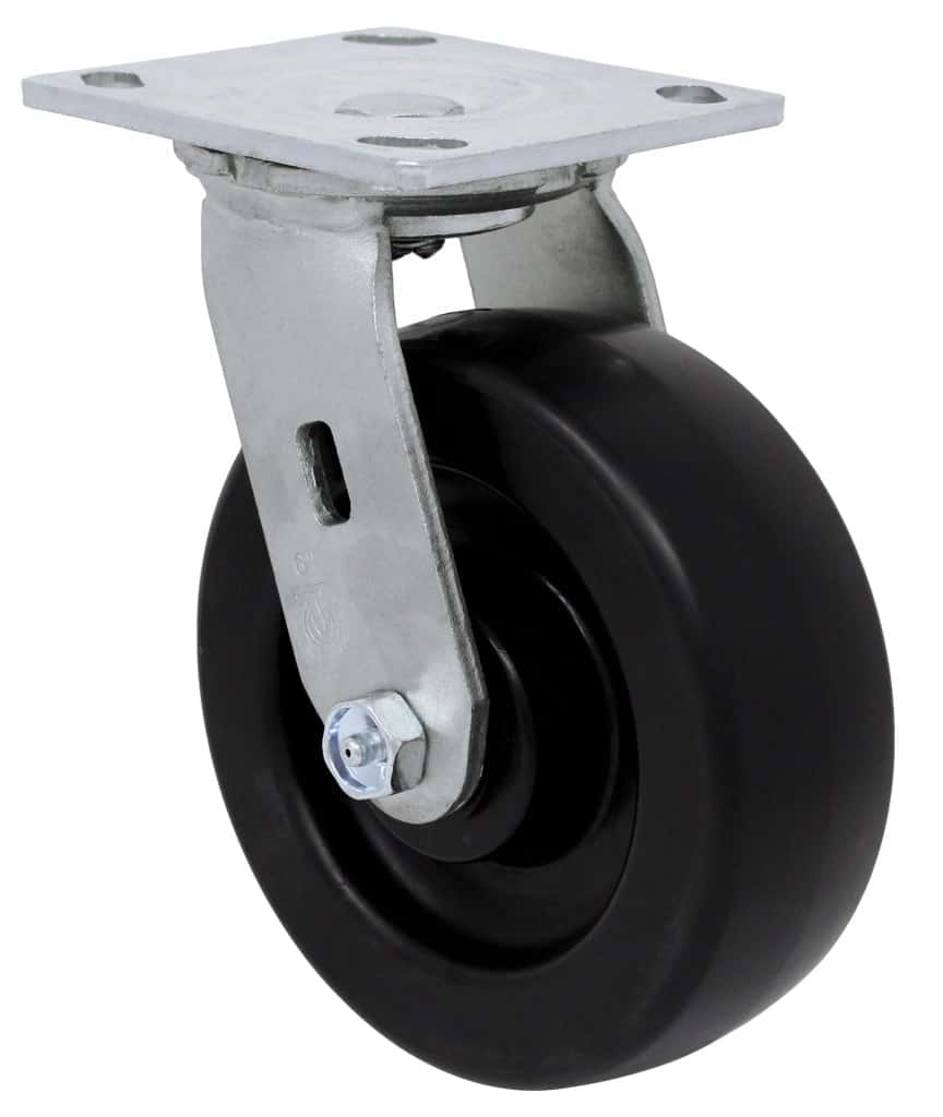 8″ Swivel Polyolefin With Brake Top Plate 4 x 4-1/2