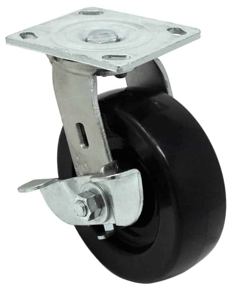 6″ Swivel Polyolefin With Brake Top Plate 4 x 4-1/2