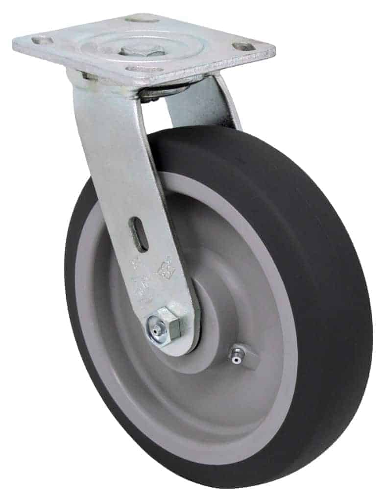 Swivel Thermoplastic Rubber Caster 4 x 4-1/2 Top Plate