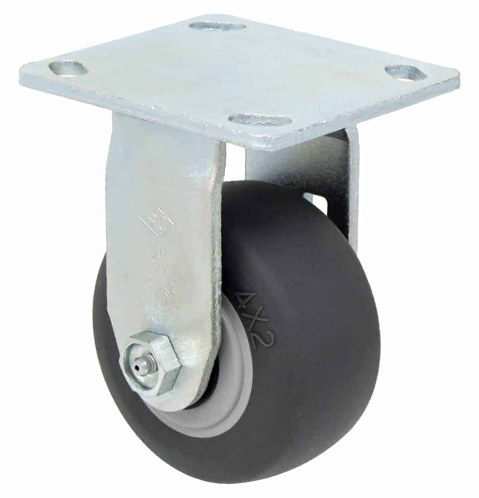"Rigid Non Marking Caster with 4"" x 4-1/2"" Top Plate"