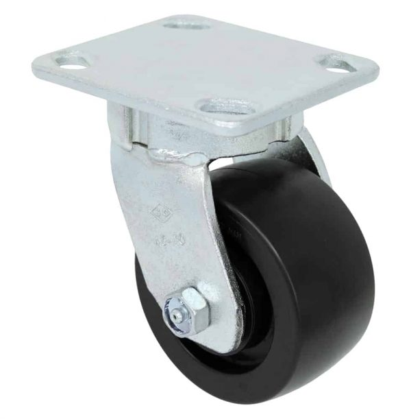 Swivel Kingpinless Polyolefin Caster 4 x 4-1/2 Top Plate