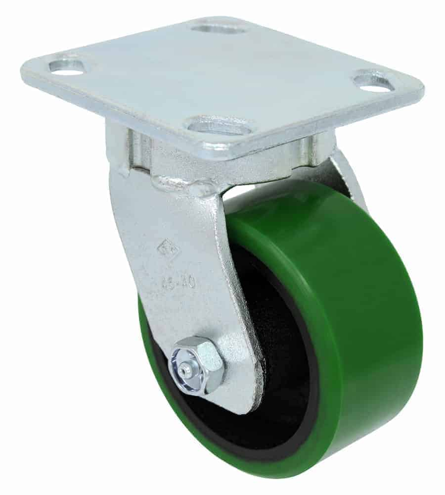Swivel Kingpinless Polyurethane Steel Caster 4 x 4-1/2 Top Plate