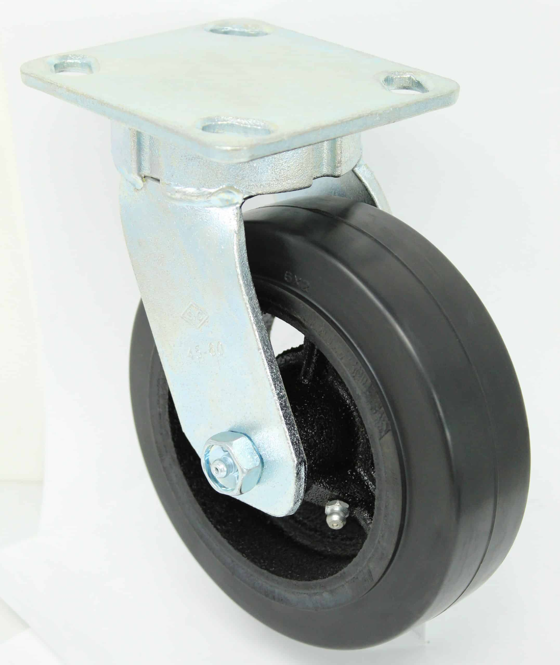 6″ Swivel Rubber Steel Top Plate 4 x 4-1/2