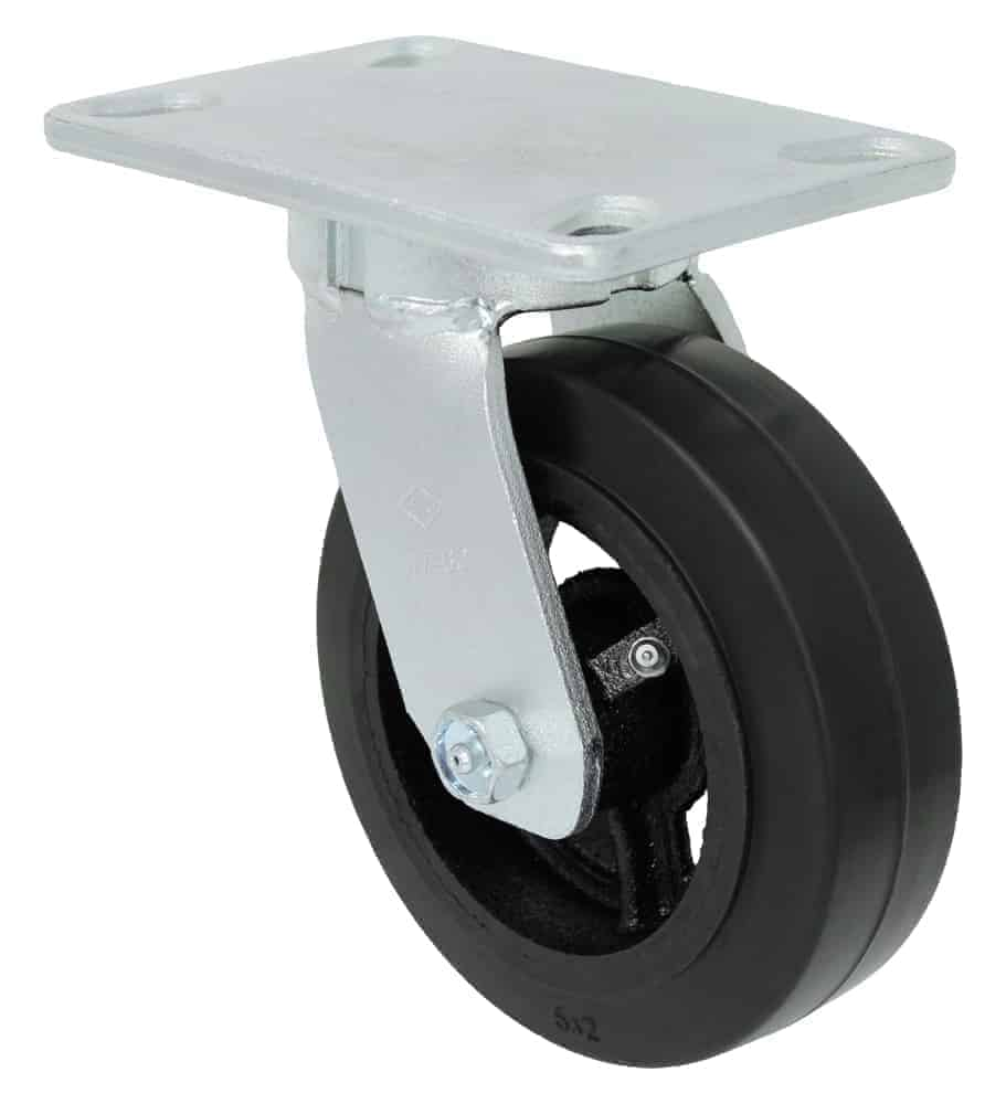 8″ Swivel Rubber Steel Kingpinless Top Plate 4-1/2 x 6-1/4
