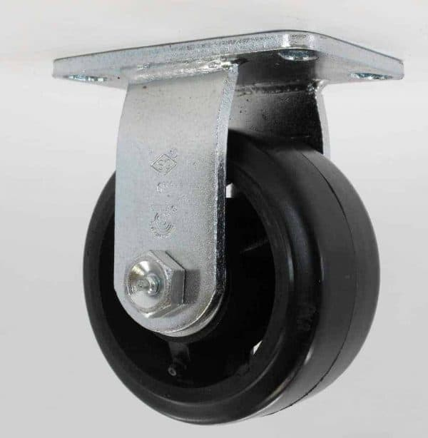 Rigid Rubber Steel Caster 4-1/2 x 6-1/4 Top Plate