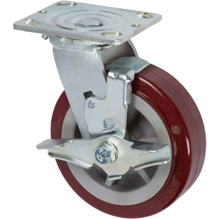 5 x 2 Swivel Poly/Poly With Brake Top Plate 4 x 4-1/2