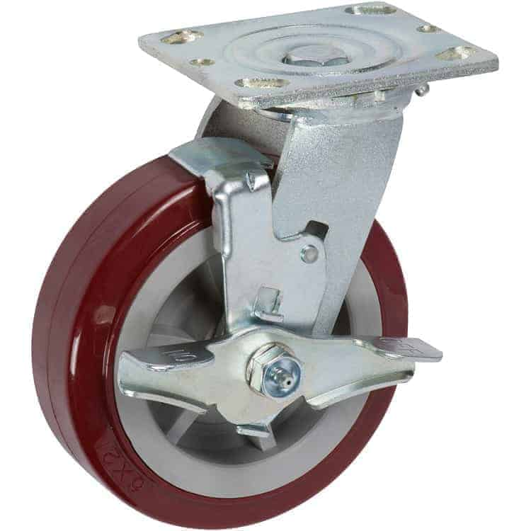 8″ Swivel Poly/Poly With Brake Top Plate 4 x 4-1/2