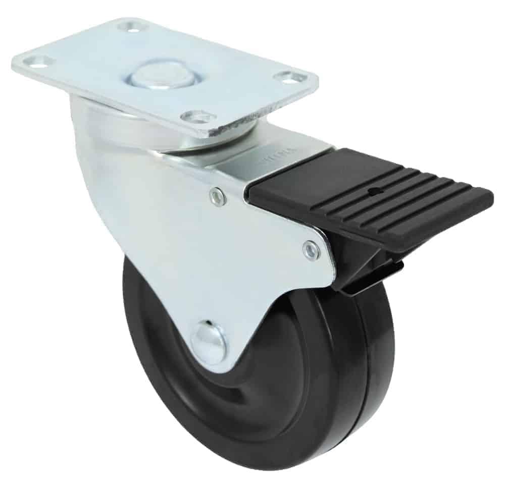 3″ Swivel Hard Rubber Top Plate 2-3/8 x 3-5/8 Total Lock