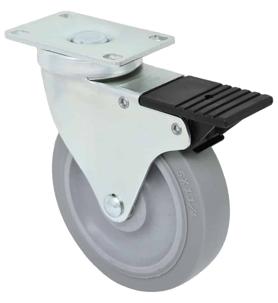 4″ Swivel Extra Soft Grey Rubber Top Plate 2-3/8 x 3-5/8 Total Lock